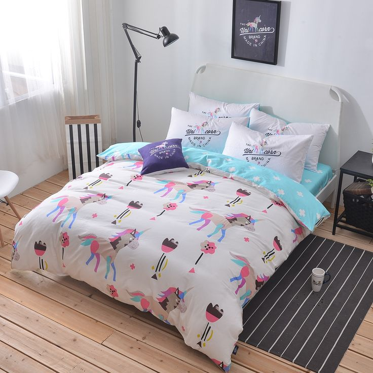 100 cotton unicorn bedding setqueen twin double size duvet cover light blue bed - Twin Bed Sheets