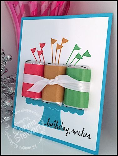 Hershey Miniature Birthday Card by Connie Stewart - Video Tutorial - www.SimplySimpleStamping.com - see the August 13, 2015 blog post