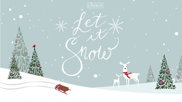 Let it snow!  Merry Christmas from cinda b!  Adorable Christmas desktop wallpaper to get you in the spirit complete with reindeer, snow, sled and trees.