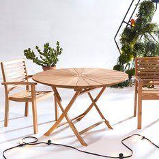 Table de jardin pliable en teck 120cm Andria 520€