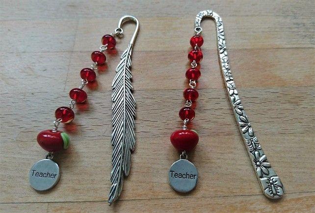 Teacher gift bookmark, apple for teacher bookmark £7.50