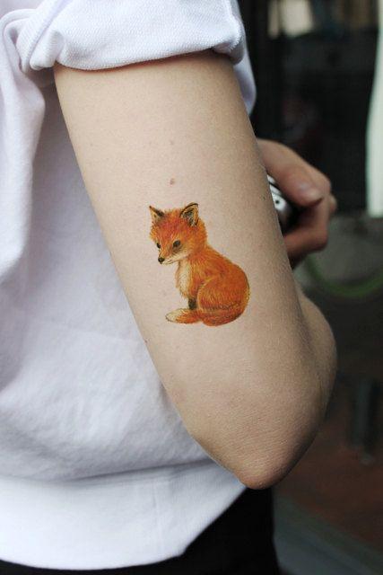 Cute little fox temporary tattoo by Tattoorary on Etsy, $6.00
