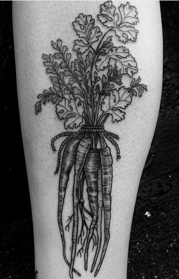 Gristle Tattoo - Williamsburg, NY, United States. Carrots and cilantro by Anka