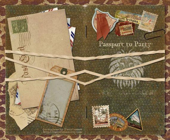 Safari Passport Invitation Announcement for Wedding ...