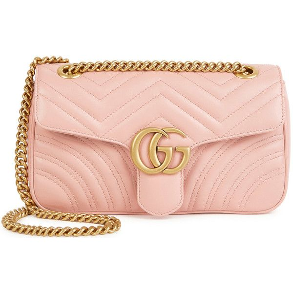 Gucci GG Marmont small leather shoulder bag (778610 SYP) ❤ liked on Polyvore featuring bags, handbags, shoulder bags, genuine leather purse, leather purses, gucci handbags, leather shoulder handbags and pink purse