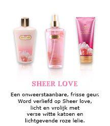 Een onweerstaanbare, frisse geur. Word verliefd op Sheer love, licht en vrolijk met verse witte katoen en lichtgevende roze lelie.