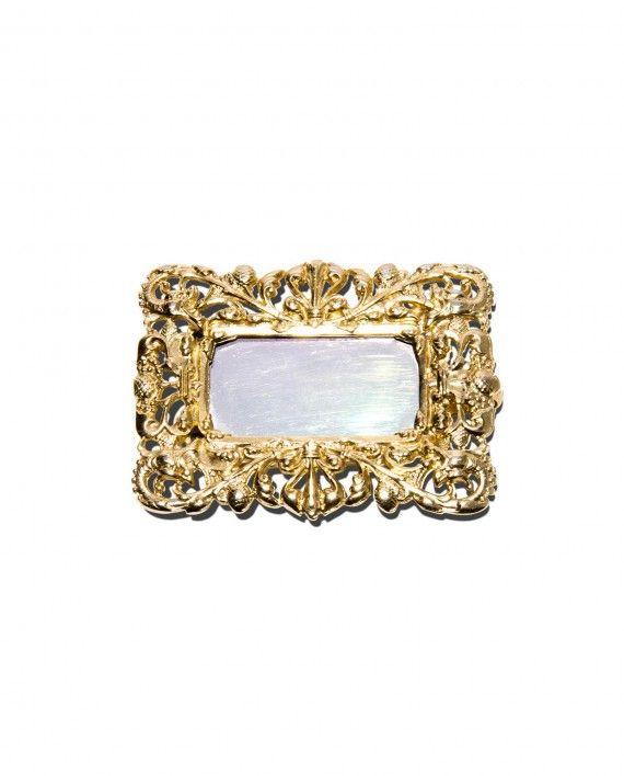 Vintage Ugo Correani rectangular mirror pin, c. 1990
