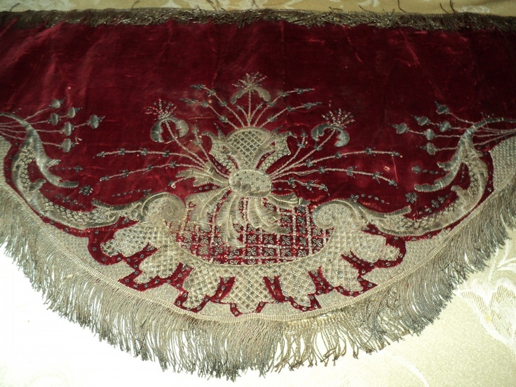 18th C Silk velvet and Silver metallic embroidered petitie French Valance #Textile Vestment