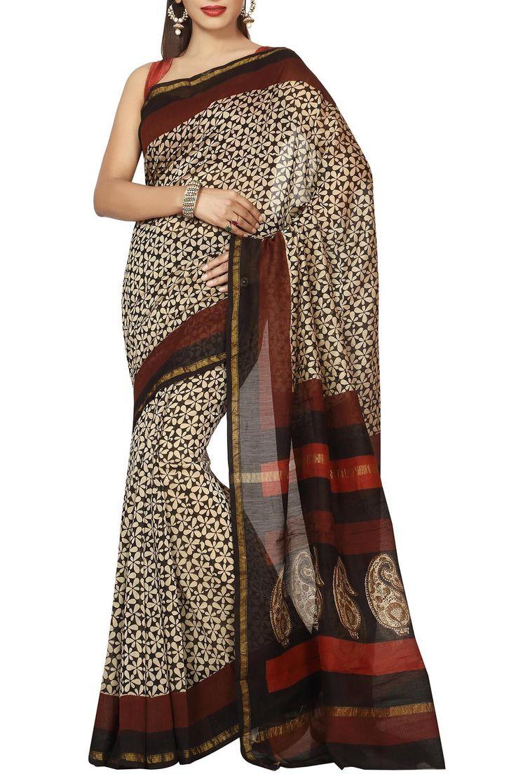Beige Black & Brown Jasmin Dabu Batik Print Zari Border Chanderi Cotton Silk Saree