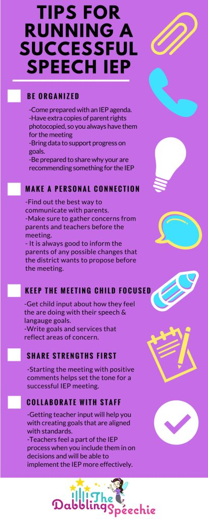 tips for running a successful IEP meeting for the busy SLP. #dabblingslp #slpeeps