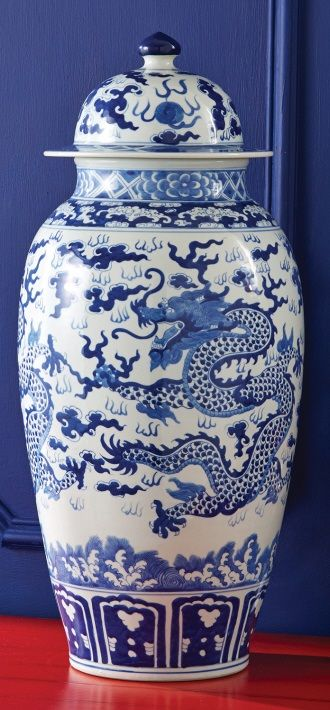Chinese Blue & White Porcelain Temple Jar from Jingdezhen China.