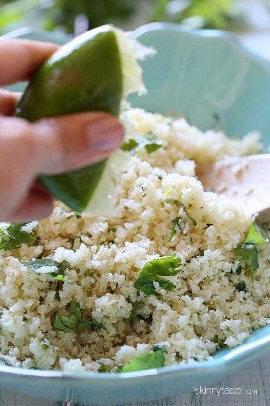 "Cilantro Lime Cauliflower ""Rice"" - Serves 5 - From Skinnytaste. Check this out! #cambiaticlean"