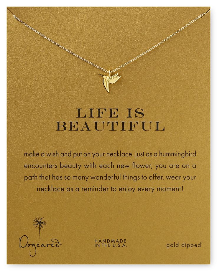 """Dogeared Life is Beautiful Necklace, 18"""" 