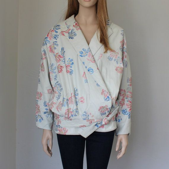80s floral white leather bomber jacket / dolman by doreensvintage, $225.00