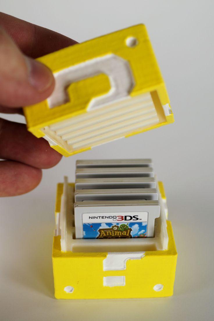 pinterest || ☽ @kellylovesosa ☾DIY 3-D Printed Mario Question Block Nintendo 3DS Game Cartridge Holder