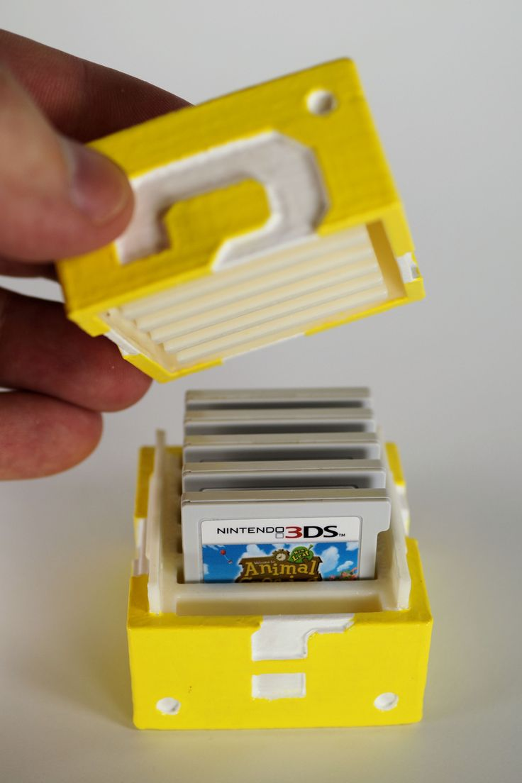 DIY 3-D Printed Mario Question Block Nintendo 3DS Game Cartridge Holder
