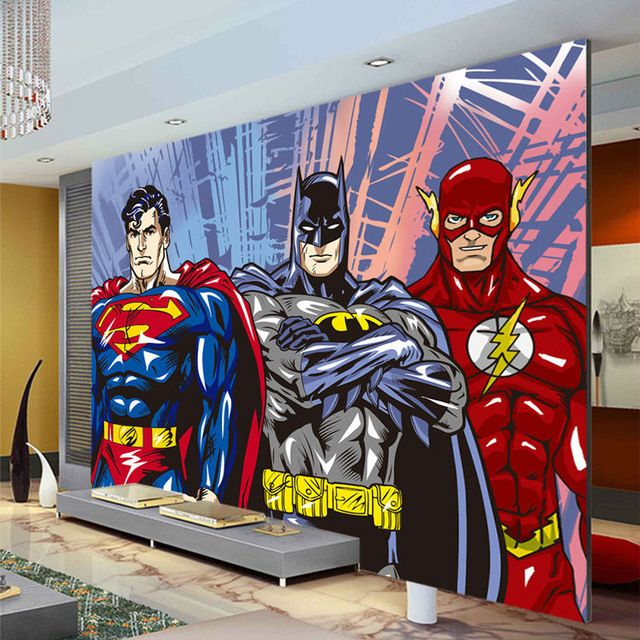 Custom 3d wall murals batman superman flash wallpaper for Comic book wallpaper mural