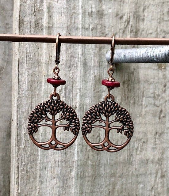 mountains mountain life studs rustic Wood mountain stud earrings- brick red and dark wood earrings