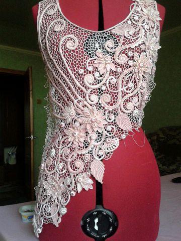 Irish crochet elegant top
