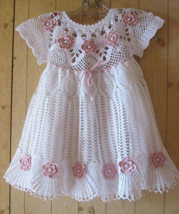 Vestido lindo de crochê para meninas - Gráfico - Toda Moderna