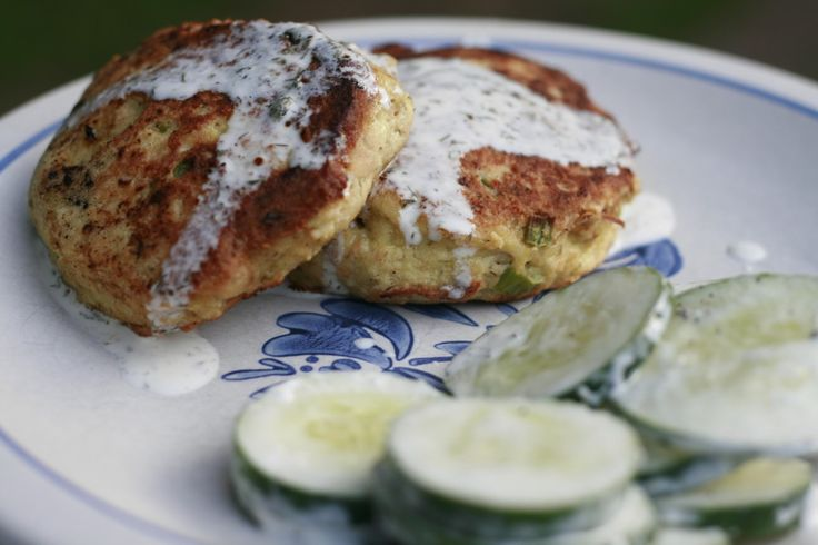 Salmon Patties with a Creamy Lemon-Dill Sauce; from anne e: used two 6 ...