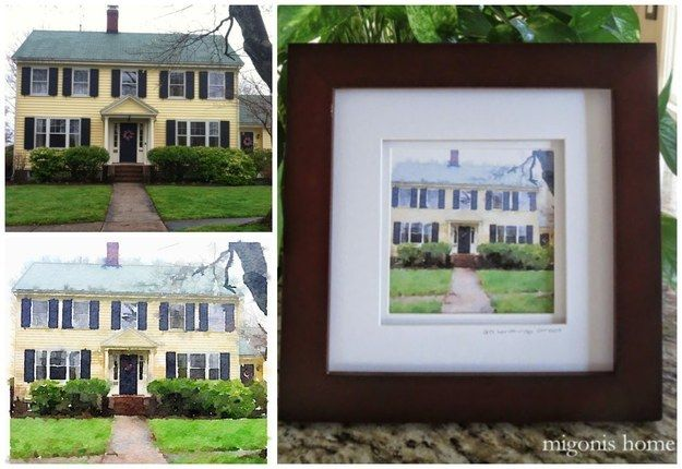 "A framed ""watercolor painting"" of their childhood home."