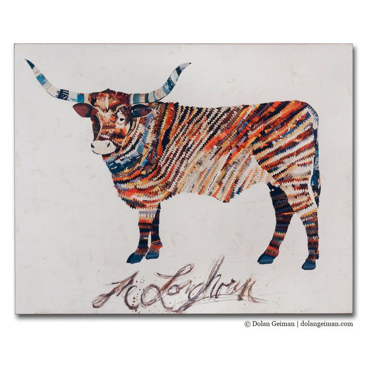 this is one of Dolan Geiman's large collages... wonderful!  Texas Steer Collage Reproduction on Wood, The Longhorn BOX Print, Southern Home Decor, Rustic Woodland Art. $725.00, via Etsy.