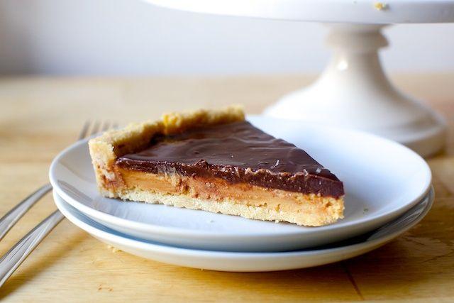 chocolate peanut butter tart, (tagalongs-style) | smittenkitchen.com