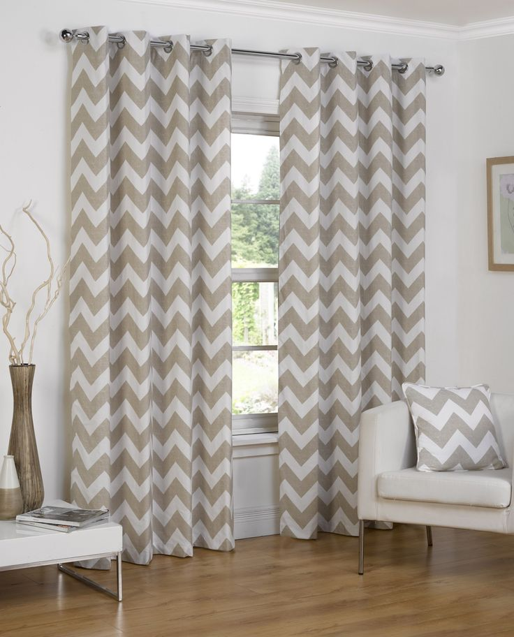 NORMANDY CHEVRON LINED EYELET CURTAINS - NATURAL