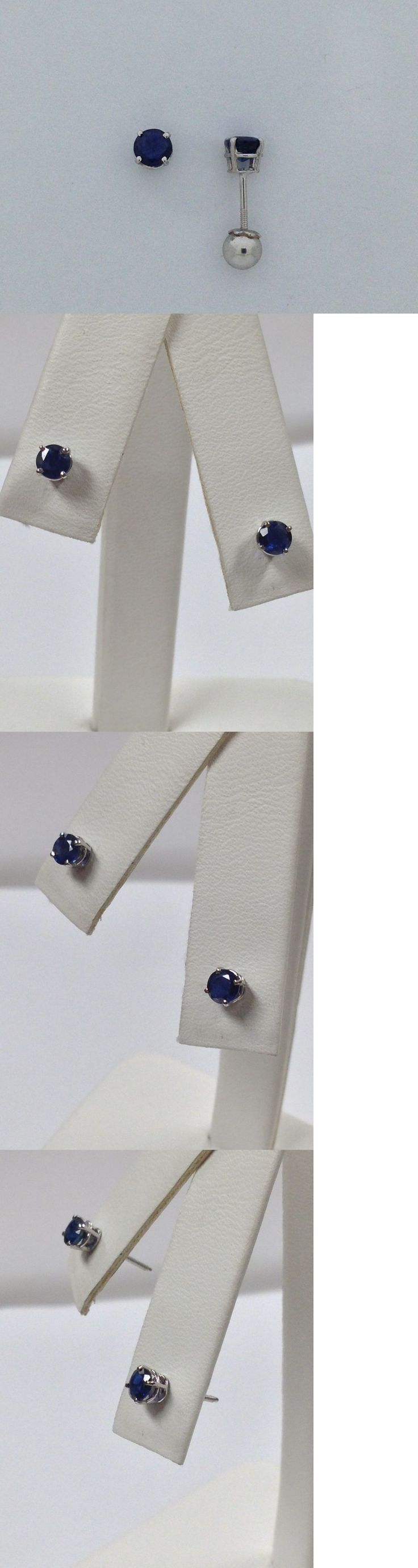 Earrings 98476: Natural Sapphire Screwback Post Earrings For Baby Children Solid 14Kt White Gold -> BUY IT NOW ONLY: $95 on eBay!