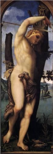 St. Sebastian - Lorenzo Lotto.  1531.  Oil on canvas.  162 x 57 cm.  Gemaldegalerie, Staatliche Museen zu Berlin, Berlin, Germany.