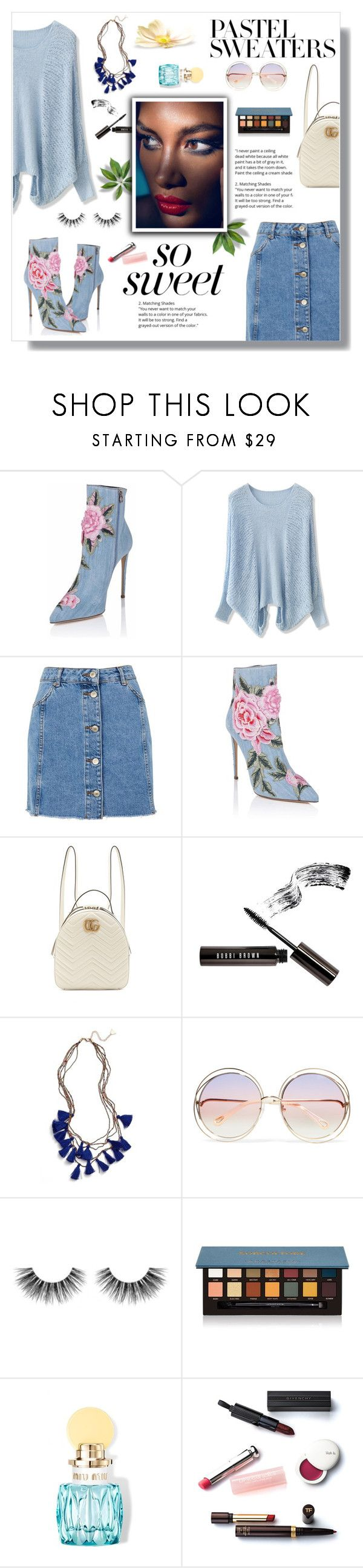 """So Sweet: Pastel Sweaters"" by nadia-gadelmawla ❤ liked on Polyvore featuring Chicwish, Topshop, Gucci, Bobbi Brown Cosmetics, Serefina, Chloé, Velour Lashes, Anastasia Beverly Hills, Miu Miu and Christian Dior"