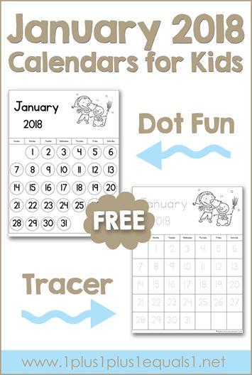 January 2018 Printable Calendars for Kids