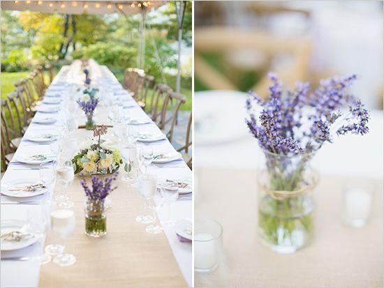 burlap and lavender table decor