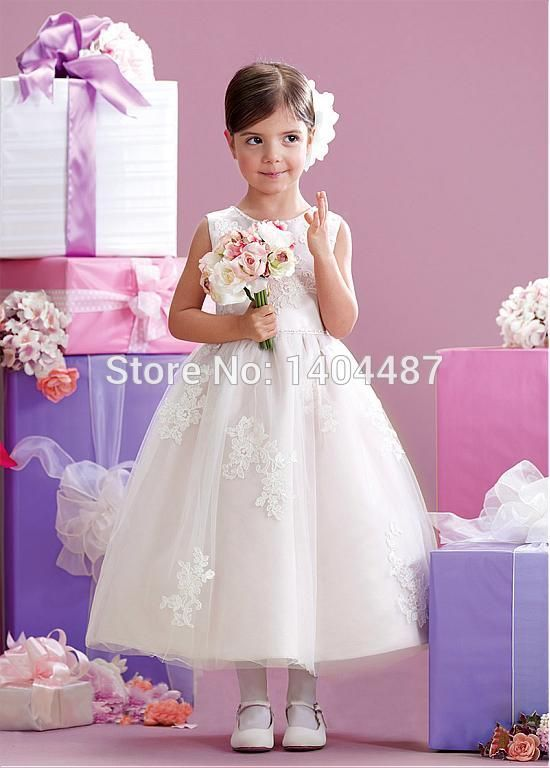 Aliexpress.com : Buy New Long White Dress For Girls Communion Dresses Sleeveless Lace Applique Flower Girl Dresses For Sale Kommunionkleider 2016 from Reliable dress organza suppliers on Suzhou Relia Wedding&Event  | Alibaba Group