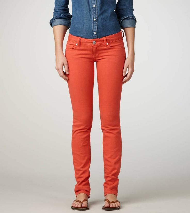 Orange colored skinny jeans