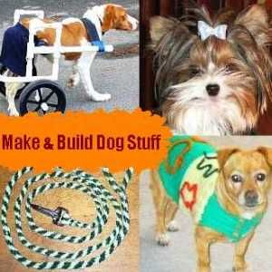 Make dog stuff at home... DIY plans for crates, runs, houses, wheelchairs, accessories like beds, clothes, collars, treats, etc.