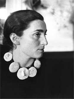 Jacqueline - Picasso's wife wearing his ceramic necklace. She must have been thrilled with that..eh..hem..