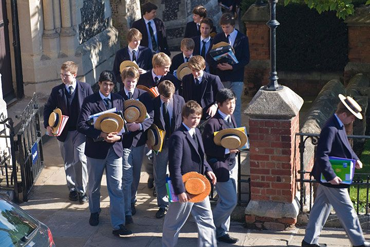 Pupils at Harrow school walk through the grounds with traditional straw boaters.  Dov Makabaw/Alamy  http://www.theguardian.com/education/gallery/2011/jan/18/school-uniform-in-pictures