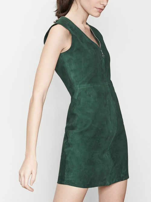 RADIJA goatskin suede dress with decorative zip. Crafted in suede leather, this sleeveless dress features a V-neck and a zip fastening at the front that extends along the neckline as decoration. Fitted cut. Perfect for wearing with a pair of ankle boots for a smart casual style infused with a seventies vibe!