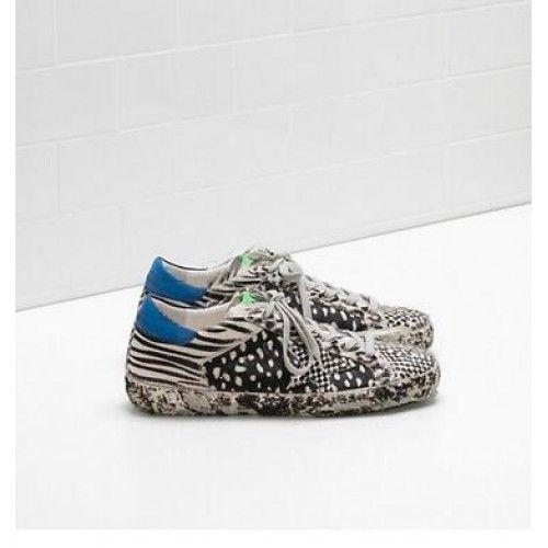 Golden Goose Db Super Star Sneakers GGDB Donna Scarpe Zebra Blu Bianco Nero