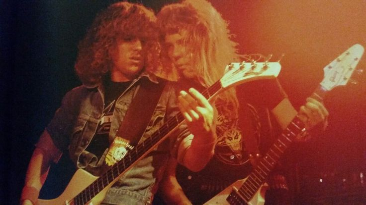 Ron McGovney and James Hetfield at the Old Waldorf in San Francisco, California (October 18, 1982)