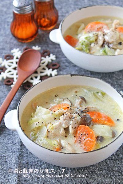 簡単ヘルシー!白菜と豚肉のとろみ豆乳味噌スープ