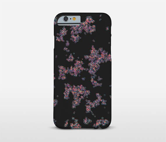 Abstract Cell Case Photomicrography Bubbles Black Phone