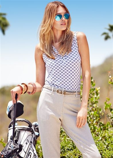 Lizzie Driver Circle of the Sun Sleeveless Polo and Cropped Pant available at #Golf4Her.com #spring