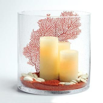 Led Candles Red Coral Red Sand White Rocks Hand Blown Seed Glass Centerpiece Home Decor