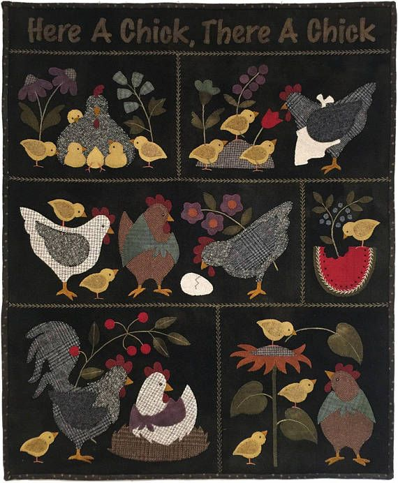 Here a Chick, There a Chick - Block Pattern - Bonnie Sullivan - Complete Set 6 blocks - Flannel or Wool Applique - Primitive  This includes patterns for all 6 blocks to complete the quilt. This 6 part Block of the Month features little chicks and their world. The 6 patterns combine to