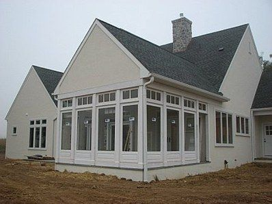 Porch ideas - in the summer exchange glass panels for screen panels. great idea