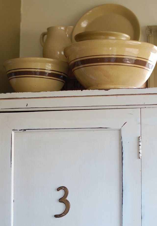 antique yellow butter crocks | Frog Goes to Market: Kitchen Antiques