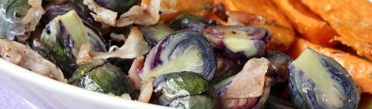 Geroosterde paarse spruiten met bacon en balsamico